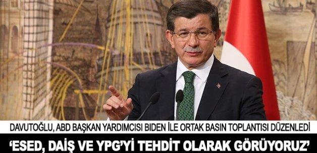 Davutoğlu: Esed, DAİŞ ve YPG'yi tehdit olarak görüyoruz