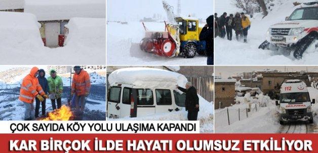 Kar yağışı birçok ilde hayatı olumsuz etkiliyor