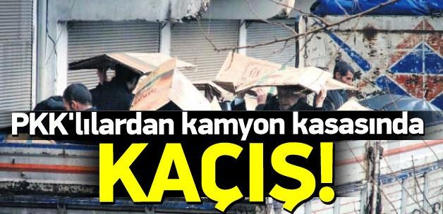 PKK'lı teröristlerden kamyon kasasında kaçış
