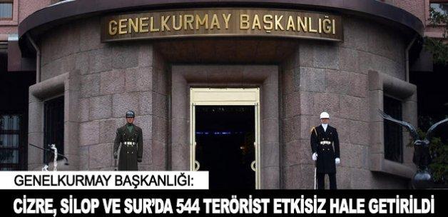 Silopi, Cizre ve Sur'da 544 terörist etkisiz hale getirildi