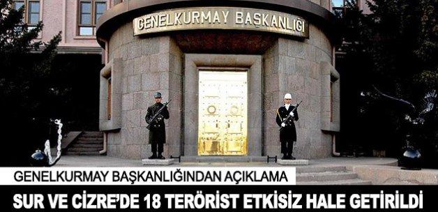 Sur ve Cizre'de 18 terörist etkisiz hale getirildi