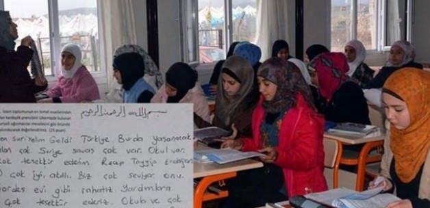 Suriyeli öğrenciden duygulandıran yazı