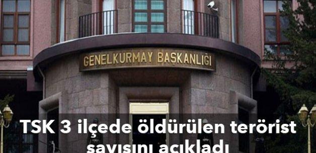 TSK 3 ilçede öldürülen terörist sayısını açıkladı