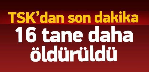 TSK: Cizre ve Sur'da 16 PKK'lı öldürüldü