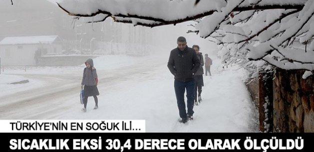 Türkiye'nin en soğuk ilinde sıcaklık eksi 30,4 ölçüldü