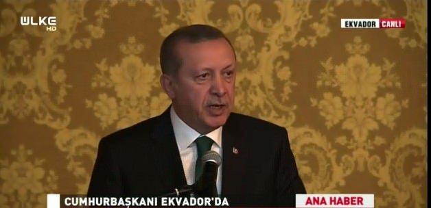 Cumhurbaşkanı Erdoğan Ekvador'da konuşuyor