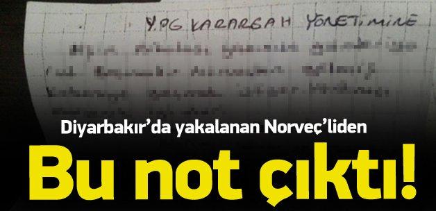 Diyarbakır'da yakalanan Norveçli'den çıkan not