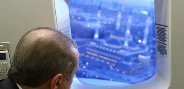 Erdoğan Beştepe Millet Camii'ni havadan inceledi