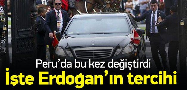 Erdoğan, Peru'da getirdiği aracı tercih etmedi