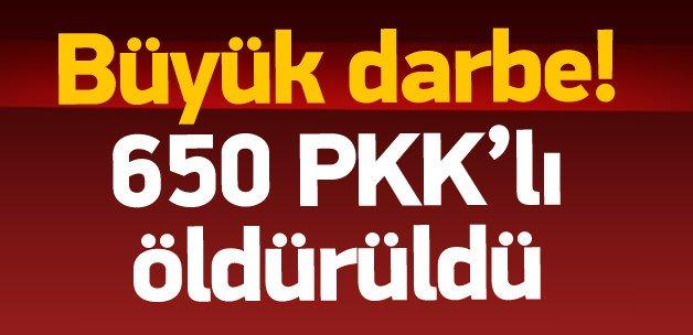 Genelkurmay: 650 terörist öldürüldü