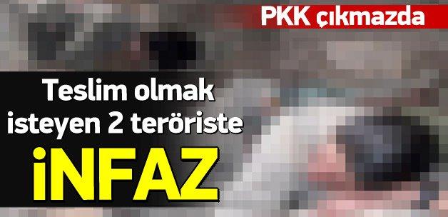 Teslim olmak isteyen 2 teröristi infaz ettiler
