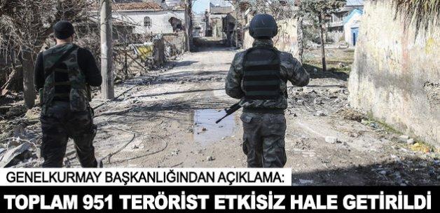 Toplam 951 terörist etkisiz hale getirildi