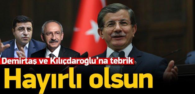 Davutoğlu'ndan Demirtaş ve Kılıçdaroğlu'na tebrik