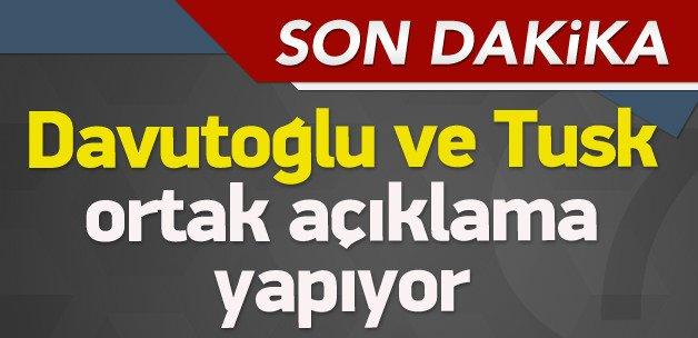 Davutoğlu ve Tusk Brüksel'de konuşuyor