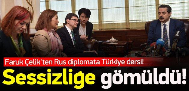 Faruk Çelik'ten Rus diplomata Türkiye dersi!