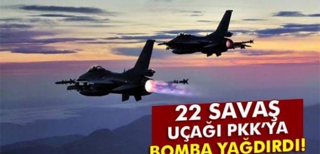 22 savaş uçağı PKK'ya bomba yağdırdı!