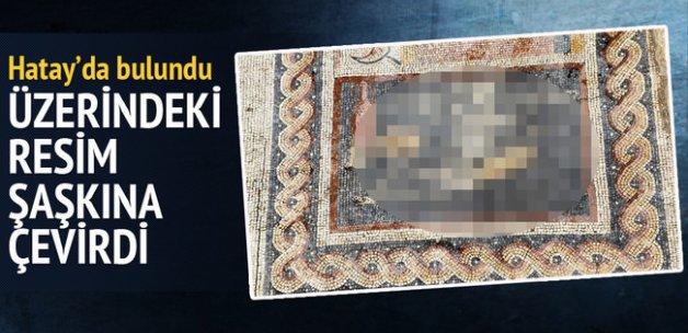 """Antakya'da """"Neşeli ol hayatını yaşa"""" yazılı mozaik bulundu"""