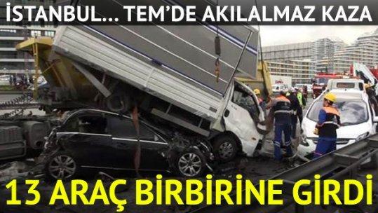 TEM'de büyük kaza trafiği felç etti