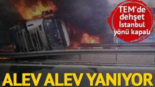 TEM'de kaza: İstanbul yönü trafiğe kapandı