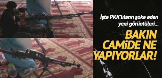 Yüksekova'da PKK'lılar camide görüntülendi!