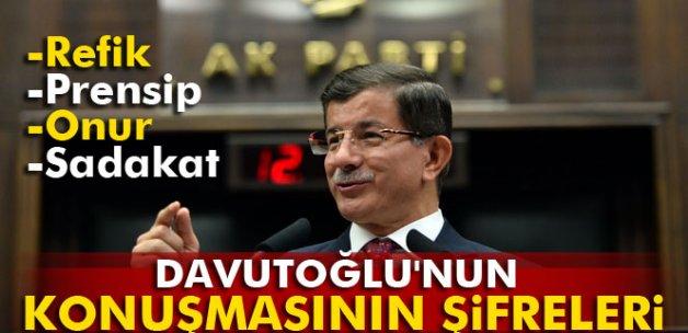 Başbakan Davutoğlu'nun konuşmasının şifreleri