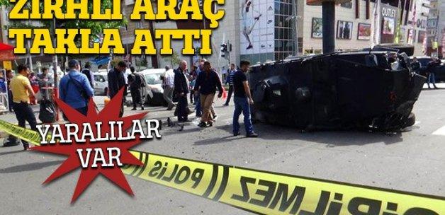 Diyarbakır'da zırhlı araç takla attı