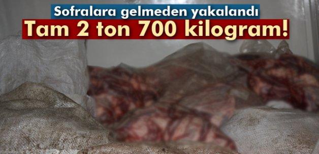Edirne'de 2 ton 700 kilogram kaçak et ele geçirildi