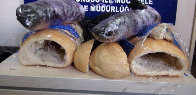 Ekmeğin içinden esrar çıktı
