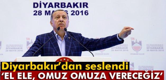 Erdoğan: 'El ele, omuz omuza vereceğiz'