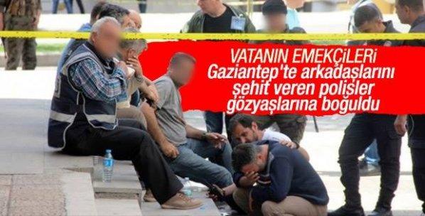 Gaziantep'te polisler arkadaşlarına ağladı