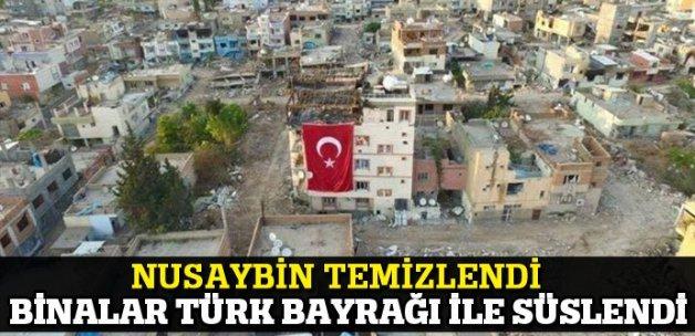 Nusaybin temizlendi, binalar Türk bayrakları ile süslendi