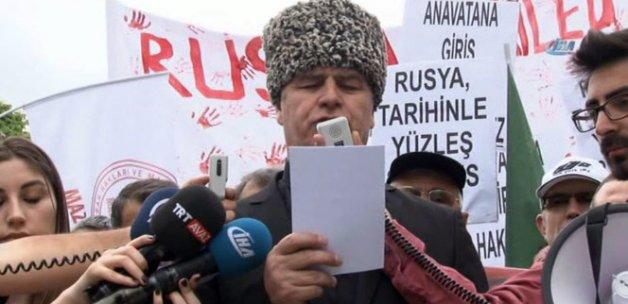 Rus Elçiliği önünde Çerkez Soykırımı protestosu
