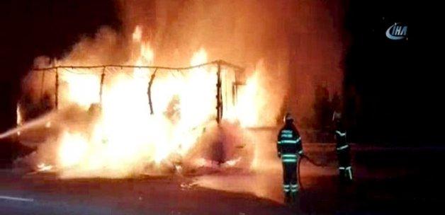 TEM'de TIR yangını