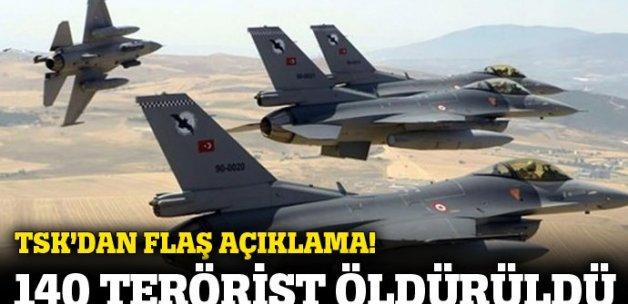 TSK: Hava harekatlarında 140 terörist öldürüldü
