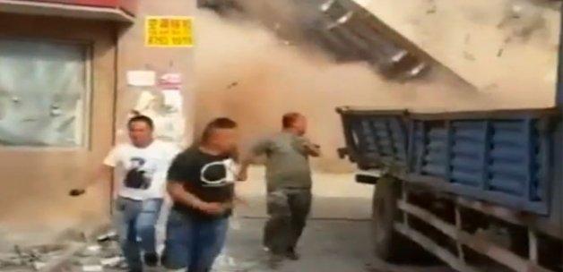 Devasa bina böyle yıkıldı
