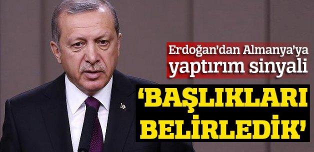 """Erdoğan'dan Almanya'ya yaptırım sinyali: """"Başlıklar belirledik"""""""