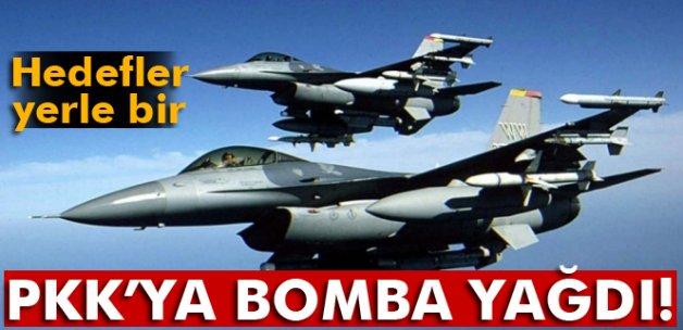 Kuzey Irak'daki ve Lice kırsalındaki bölücü terör örgütü hedeflerine savaş uçakları bomba yağdırdı