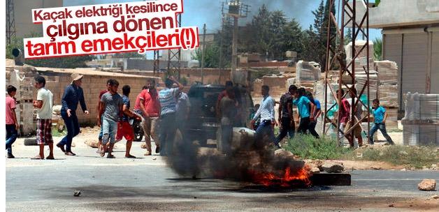 Akçakale'de çiftçiler elektrik kesintisini protesto etti