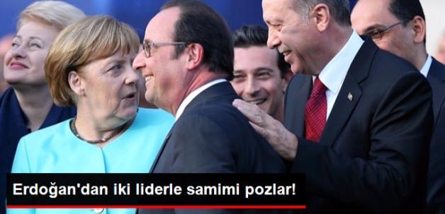 Cumhurbaşkanı Erdoğan'dan Merkel ve Hollande ile Samimi Sohbet