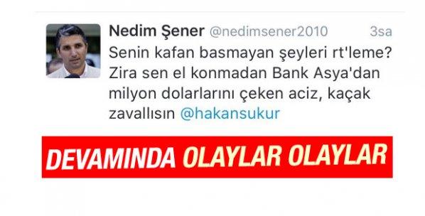 Nedim Şener, Hakan Şükür'le Twitter'da tartıştı