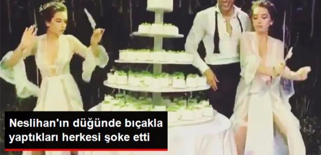 Neslihan Atagül Düğününde Pasta Bıçağıyla Dans Etti
