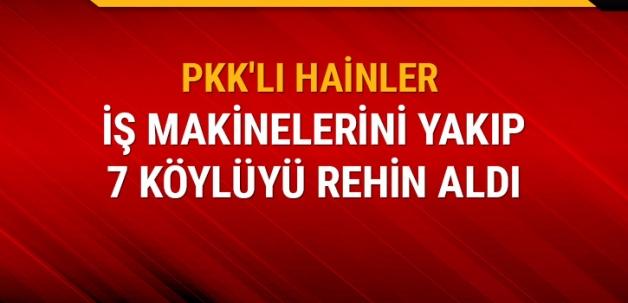 PKK'lı hainler Siirt'te iş makinelerini yakıp 7 köylüyü rehin aldı