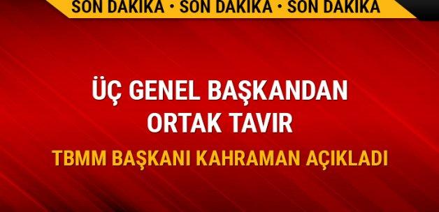 TBMM Başkanı Kahraman: Üç genel başkan Meclis'te konuşacak