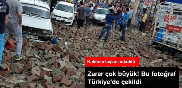 Türkiye Sel Felaketiyle Boğuşuyor! Kayseri'de Kaldırım Taşları Söküldü