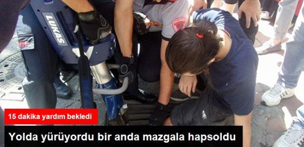 Zonguldak'ta Ayağı Mazgala Sıkıyan Genci İtfaiye Kurtardı