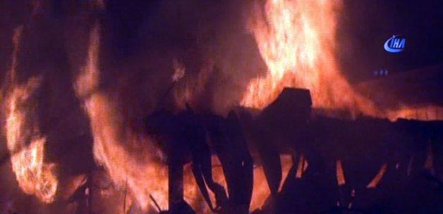 Ahşap palet fabrikasında korkutan yangın!