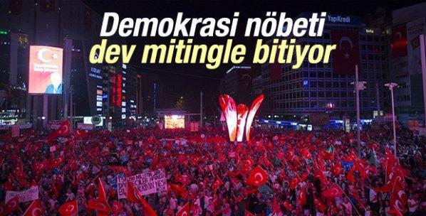 Demokrasi nöbeti Ankara'da dev mitingle sona erecek