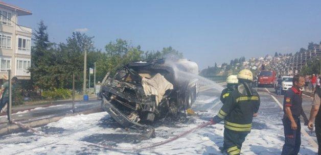 Tanker şoförü yanarak can verdi