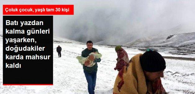 Ardahan'da Kar Nedeniyle Yaylada Mahsur Kalan 30 Kişi Kurtarıldı