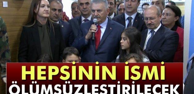Başbakan Yıldırım, 15 Temmuz Şehitler Köşesi'nin açılışını yaptı